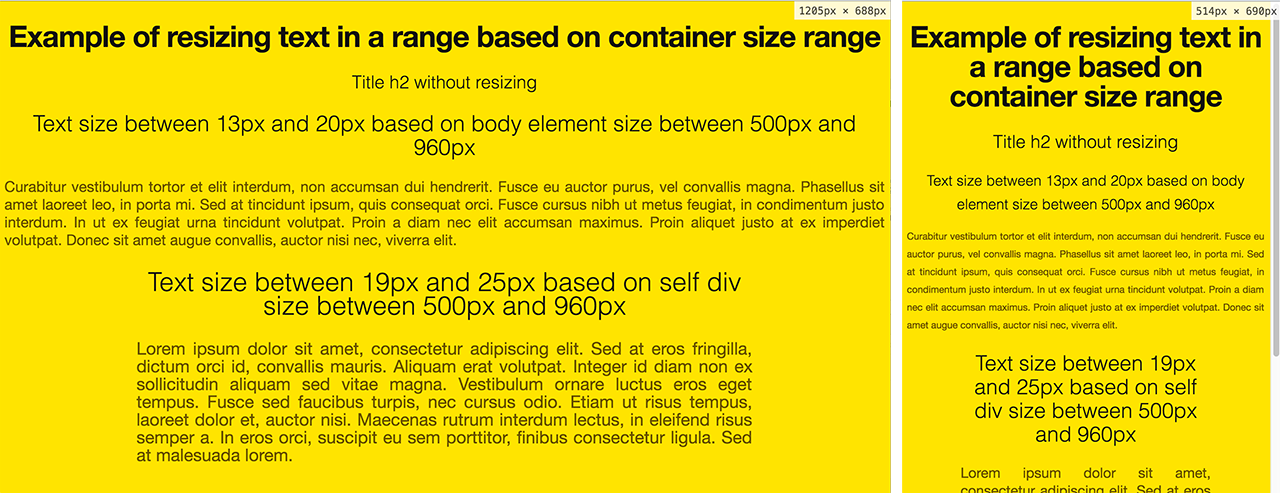 CSS/JS: ridimensionare il testo proporzionalmente alla dimensione del DIV