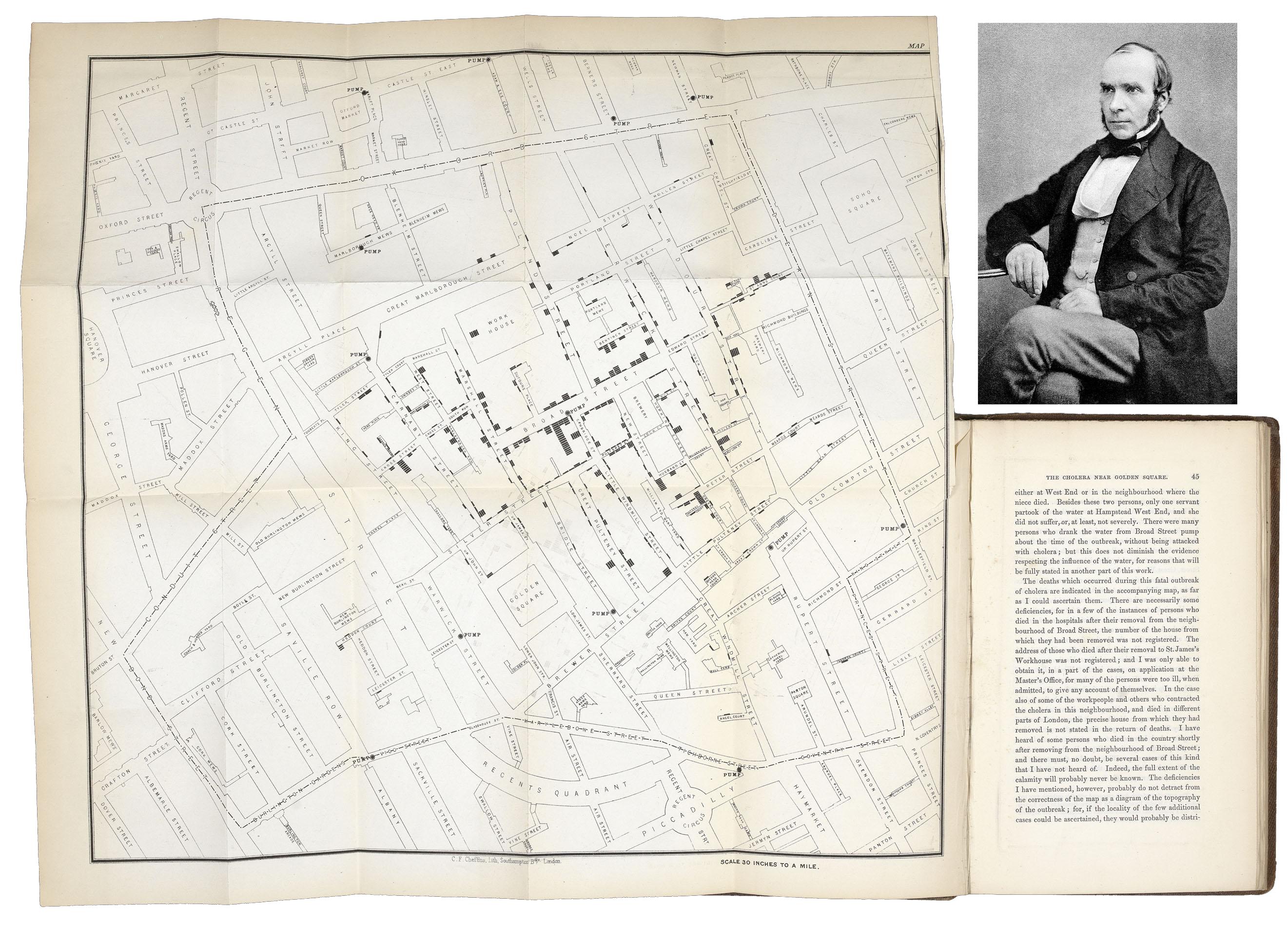 La vera storia della mappa dell'epidemia di colera a Broad Street