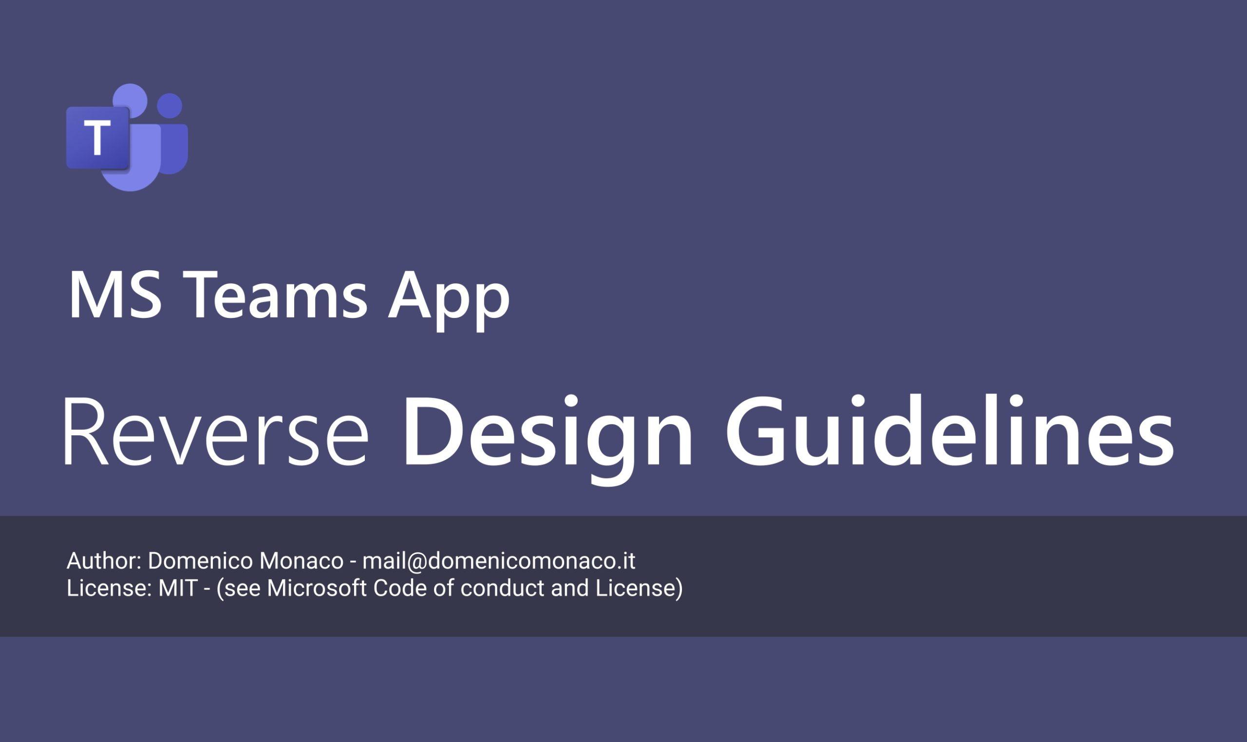 Microsoft Teams Reverse Design Guidelines